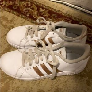 Rose gold striped adidas sneakers